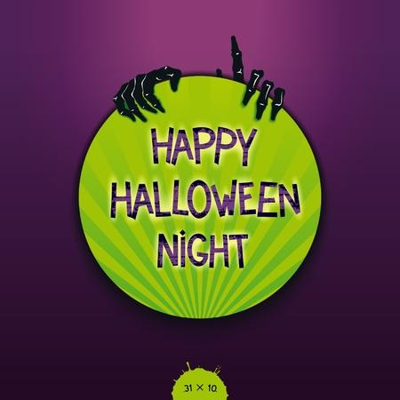 fondo luminoso: Pegatina creativo para fiesta de Halloween con sobresale manos de zombies. El deletreado con luz de fondo. Vector EPS 10