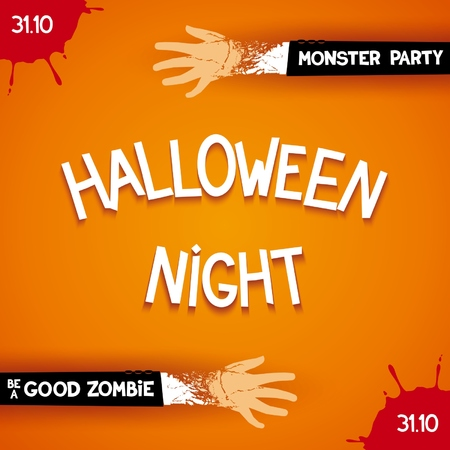 scary story: Halloween night party - trendy poster with 3D inscription and zombie hands. Vector eps 10