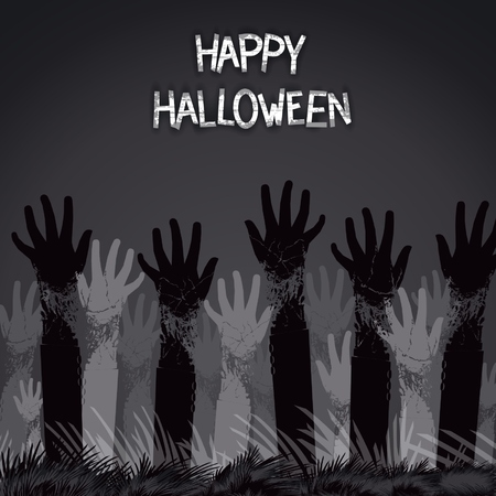 Spooky card design for halloween holiday with zombie hands from the ground.  Vector