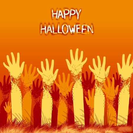 bright card: Bright card design for halloween holiday with zombie hands from the ground.