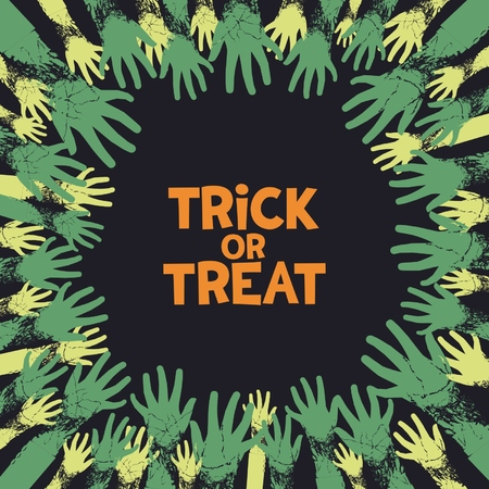 scary story: Trick or treat, fun card design for halloween holiday with zombie hands from all the parties.