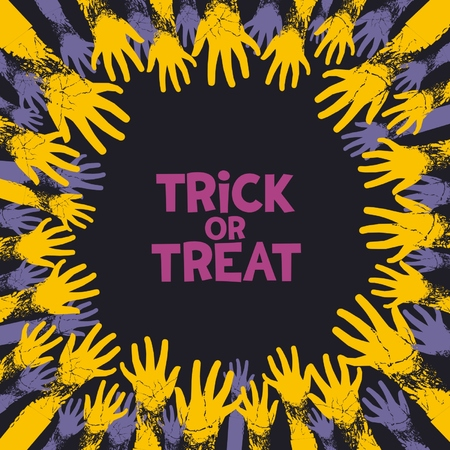 Trick or treat, fun card design for halloween holiday with zombie hands from all the parties.  Vector
