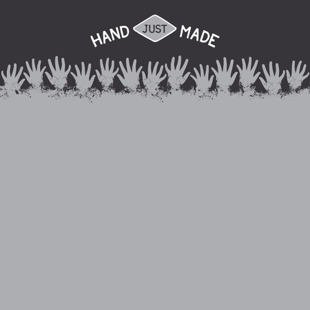 Concept template for handmade with fun design of grunge hands.  Vector