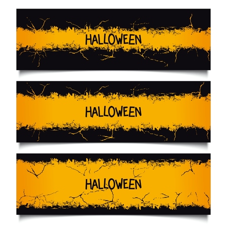 Set Halloween banners with various sizes grunge ribbon and lettering. Vector eps 10 Illustration