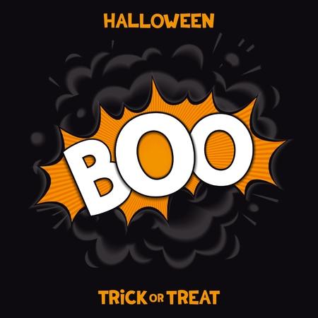 BOO - 3D comic speech bubbles with realistic bang smoke for fun halloween holiday. Vector eps 10 Vector