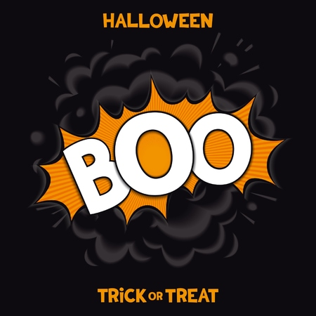 boo: BOO - 3D comic speech bubbles with realistic bang smoke for fun halloween holiday. Vector eps 10