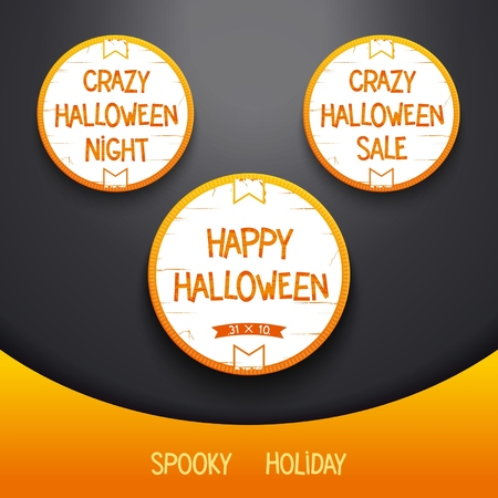high volume: Set Halloween label for spooky holiday.