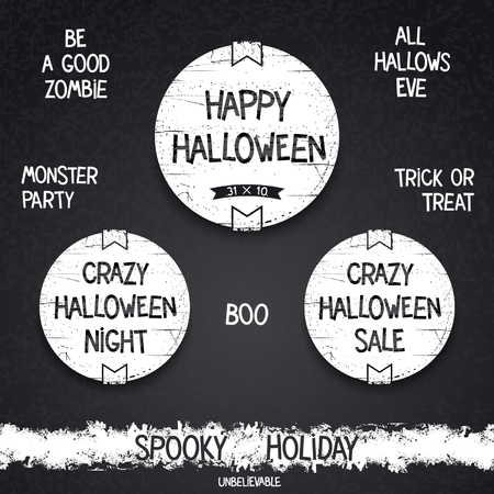 Set vintage Halloween emblem and letterings for spooky holiday.  Vector