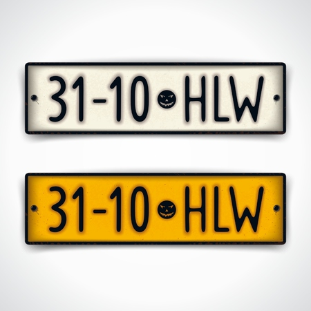 Halloween holiday design in style car plates with an abbreviated inscription and date - 31-10 HLW.   Vector