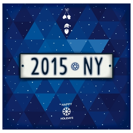 New year plate in the style of retro car number with abbreviation - 2015 - NY on the winter geometric background. Realistic vector eps 10 Vector