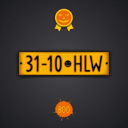 number plate: Realistic design plate for Halloween as a retro car number with abbreviation - 31-10 HLW. Vector eps 10
