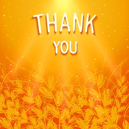 THANK YOU - floral volumetric bright background with 3D inscription and rays of light. Vector eps 10
