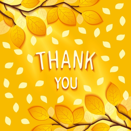 Gentle autumn greeting card with to wish gratitude on background of branches and leaves. Vector eps 10 Vector