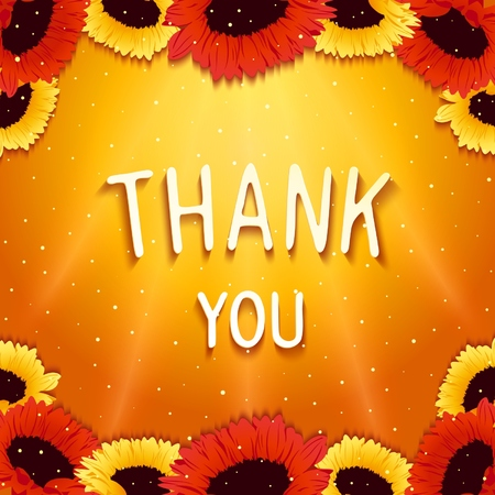 Festive greeting card with wishes thank you on background shinning rays of light and gerbera flowers. Vector eps 10
