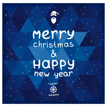 Christmas and New Years greetings to the geometric blue background. Vector eps 10 Vector