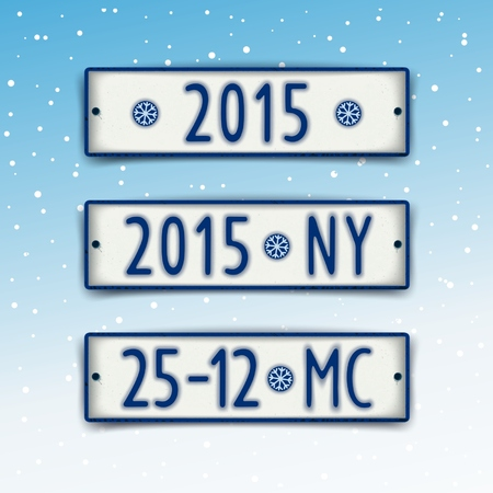 Three plate in the style of car number with the date 2015 and abbreviation of Christmas and New Year.  Vector