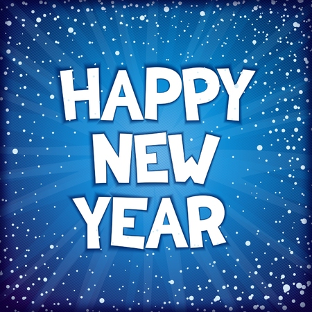 Happy New Year festive sparkling inscription design on abstract blue background. Иллюстрация