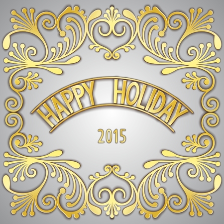 gilding: Happy holiday card design with gilding pattern and the signboard. Vector eps 10