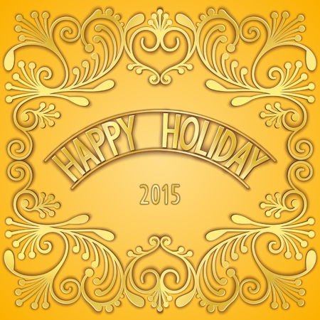 curlicues: Happy holiday card design with jewelry gilding pattern and 3D signboard. Vector eps 10