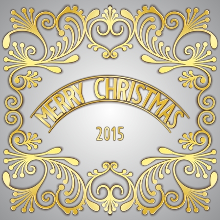 gilding: Golden signboard - Merry Christmas, with jewelry gilding pattern. Vector eps 10