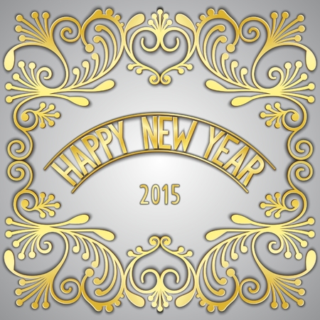 facia: Happy New Year 3D golden signboard with jewelry frame. Vector eps 10 Illustration