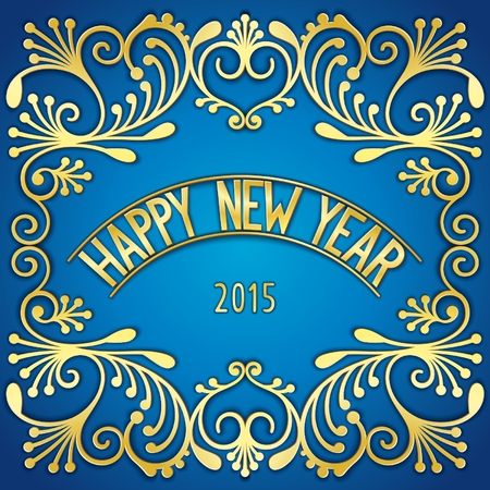 Happy New Year - luxury card design with 3D golden signboard and pattern. Vector eps 10 Vector