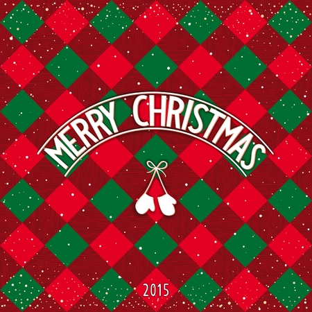 traditionally: Traditionally checkered Merry Christmas postcard with 3D signboard. Vector eps 10