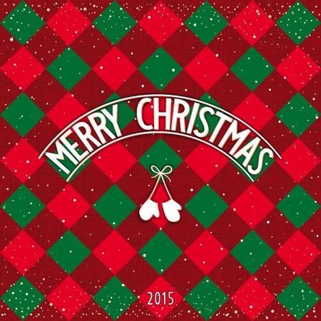 facia: Traditionally checkered Merry Christmas postcard with 3D signboard. Vector eps 10