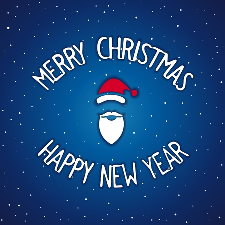 facia: Lettering design for Merry Christmas and Happy New Year with Santa Claus. Vector eps 10 Illustration