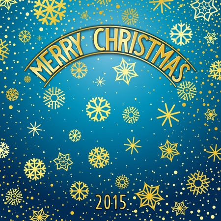facia: Merry Christmas festive background with gold lettering and snowflakes. Vector eps 10 Illustration