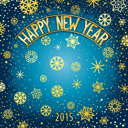 facia: Happy new year festive background with gold lettering and snowflakes. Vector eps 10 Illustration