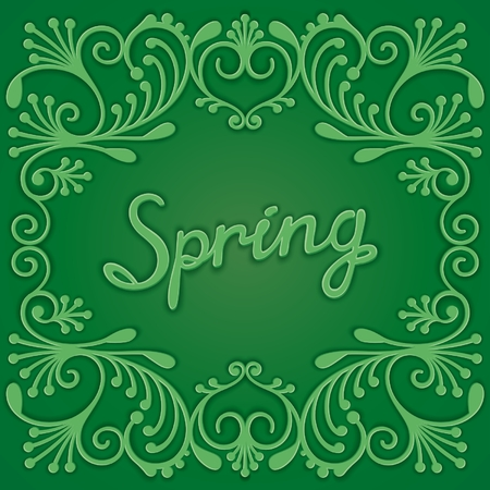 curlicues: Spring ornate card with volumetric curlicues and inscription. Vector eps 10 Illustration