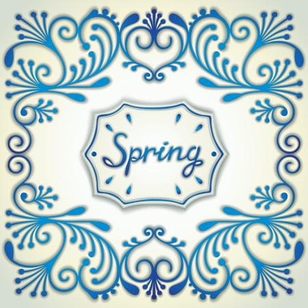 facia: Spring retro design in the style Gzhel ceramics with pattern and label in the center. Vector eps 10 Illustration