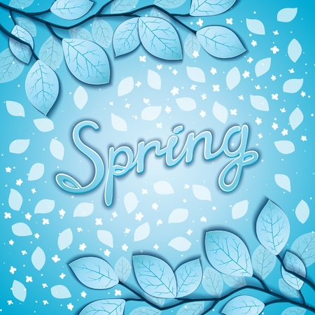 freshening: Freshening spring awakening postcard with branches and leaves on still winter coolness. Vector eps 10 Illustration