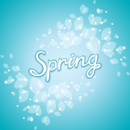 coolness: Freshening spring awakening postcard with floral pattern on still winter background. Vector eps 10