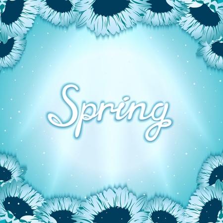 shinning: Postal despertar de primavera con flores de gerbera en el fondo brillando rayos de luz. Vector EPS 10