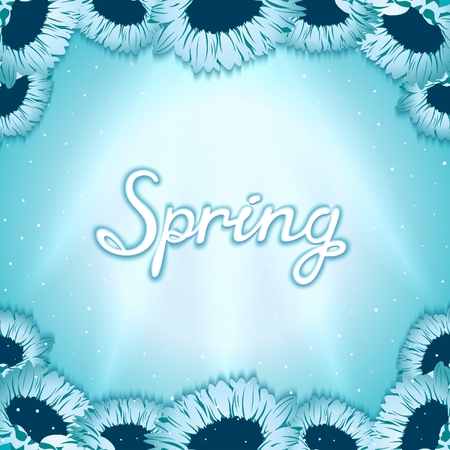 shinning: Spring awakening postcard with gerbera flowers on background shinning rays of light. Vector eps 10