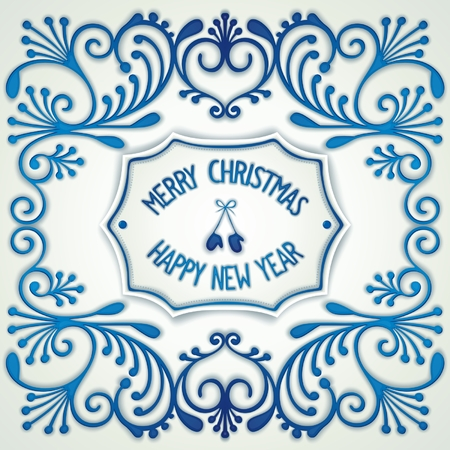 facia: Christmas design in the style Gzhel ceramics with pattern and label in the center. Vector eps 10