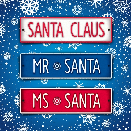 facia: Car number for Mister and Miss Santa Claus. Realistic vector eps 10