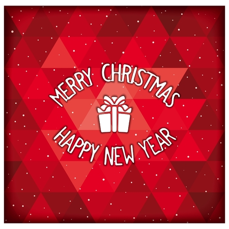 facia: Merry Christmas and Happy New Year lettering design on geometric background. Vector eps 10