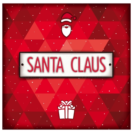 facia: Santa Claus plate in the style of car number on the geometric background. Realistic vector eps 10