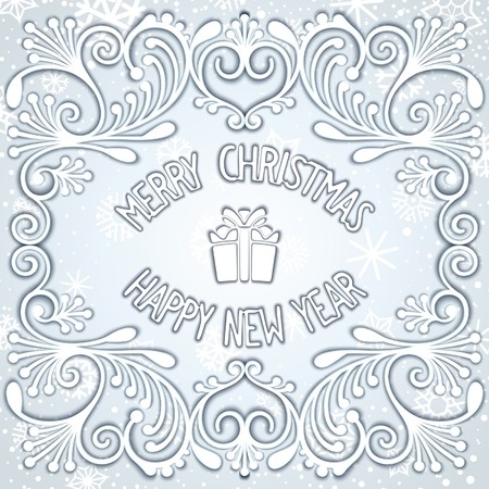 Merry Christmas and Happy New Year snowy relief design. Vector eps 10