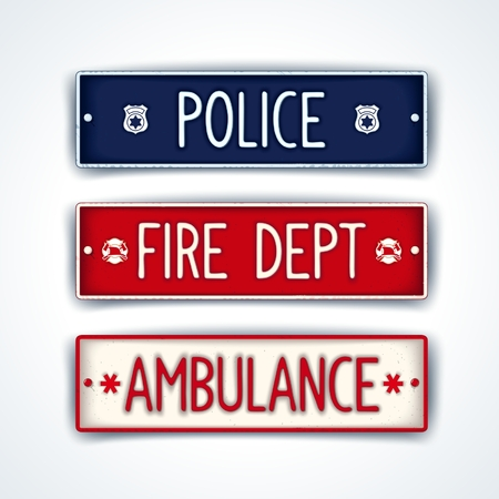 service occupation: Ñar license plate for emergency services - police, fire department, ambulance. Vector eps 10
