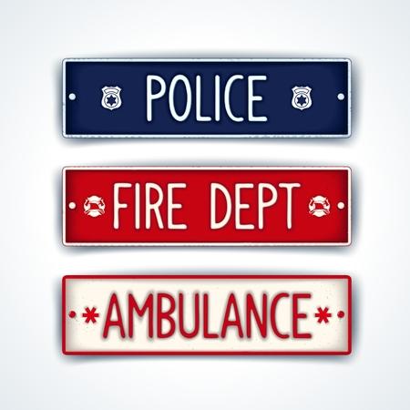 ambulancia: ar placa de licencia para servicios de emergencia - polic�a, bomberos, ambulancia. Vector EPS 10 Vectores