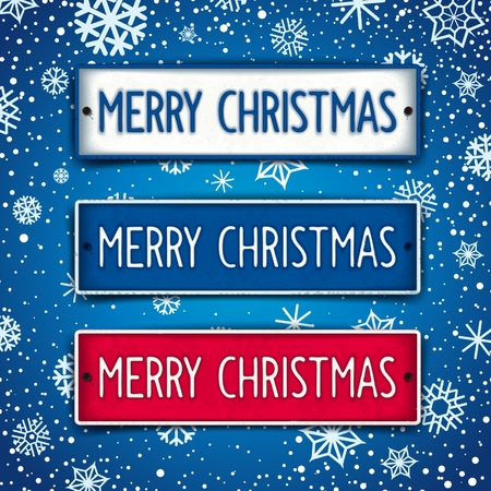 winterly: Three metal plates with embossed text - Merry Christmas. Vector eps 10 Illustration