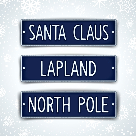 winterly: Santa Claus, Lapland and North pole - three themed car sign with embossed text. Vector eps 10 Illustration