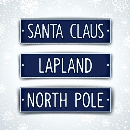 auto sign: Santa Claus, Laponia y el norte de polo - muestra tres coches tem�tica con texto en relieve. Vector EPS 10 Vectores