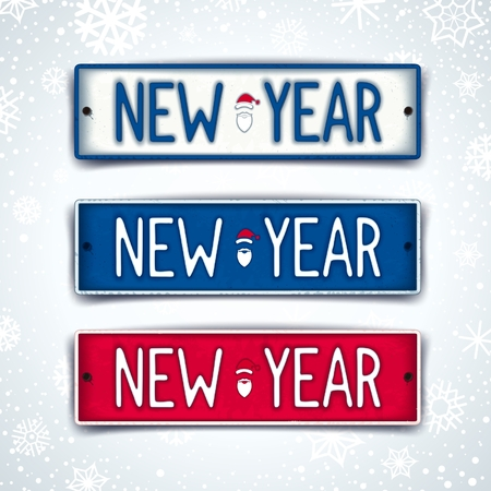 number plate: New Year - three realistic car sign with embossed text. Vector eps 10