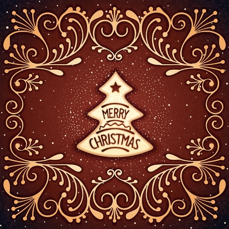 Christmas biscuits as fir-tree with chocolate frosting and lettering. Vector eps 10 Vector