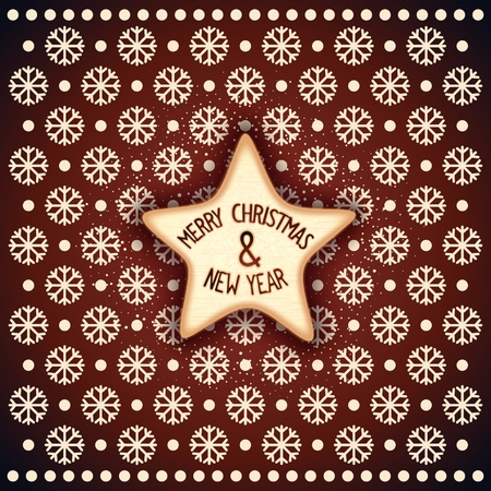 frosting: Christmas biscuits as star with chocolate frosting and lettering. Vector eps 10 Illustration